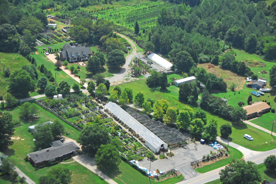This is an arial view of our garden center, Mike's Growers Outlet..